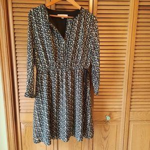 LOFT Heart Print Long Sleeve Dress